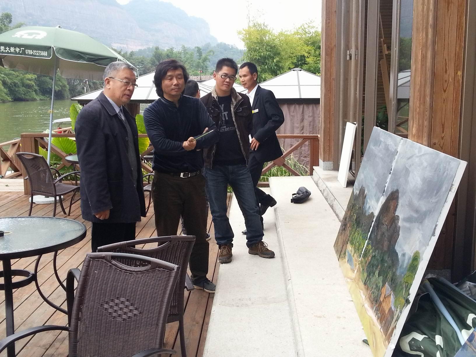 和恩师王琨老师、戴士和老师在丹霞山写生