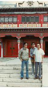 1988年在召河,左起北岛、李锐、张廓