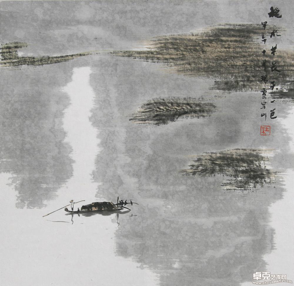 秋水共长天一色35×35cm