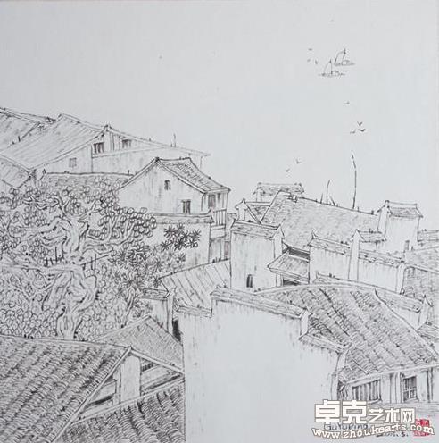 徽州民居系列之四50X50(cm)