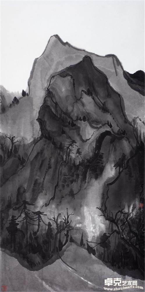 夜山系列之壁立    136x68cm