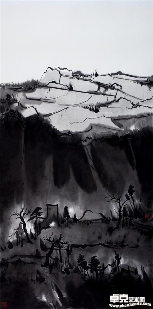 夜山系列之高坡  136x68cm
