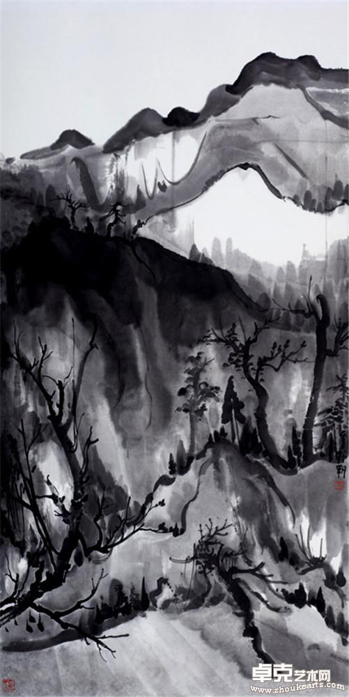 夜山系列之高树  136x68cm