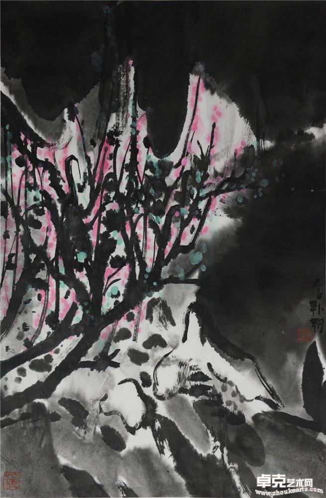 夜山系列之花树 68x45cm
