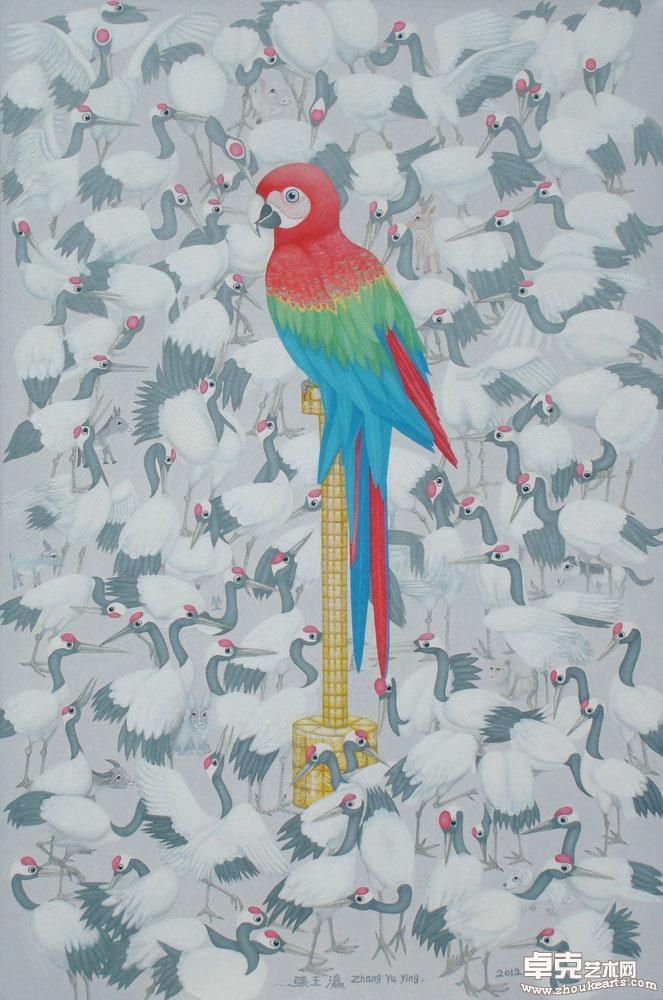 《九-鹦鹉百鹤图》