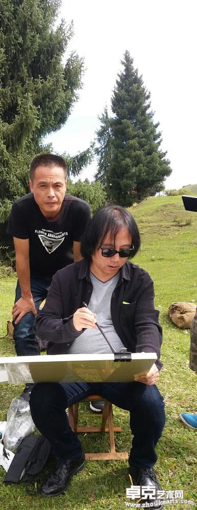 与荣宝斋画院院长唐辉老师在新疆写生