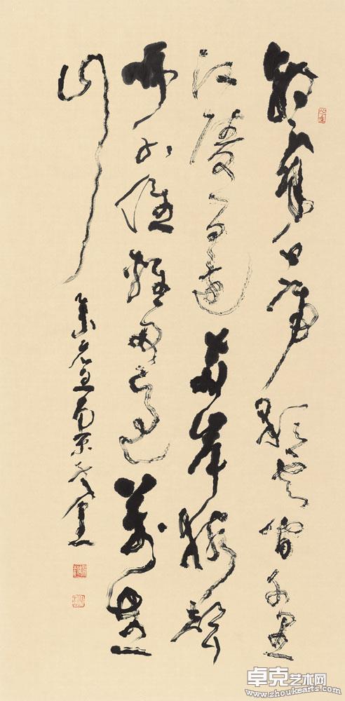 唐李白《早发白帝城》草书条幅 138x70cm