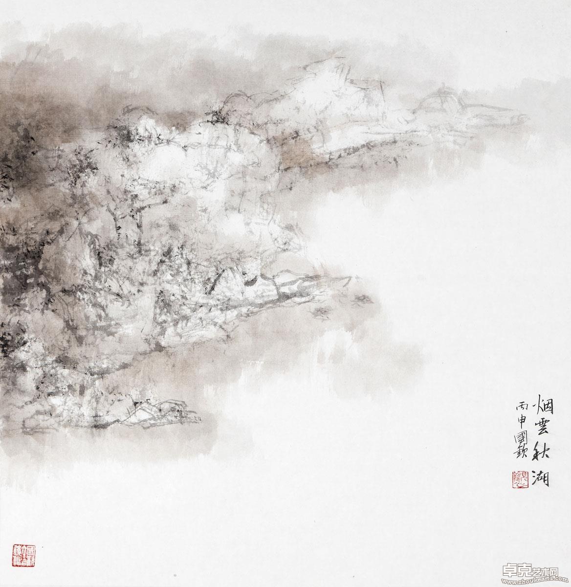 烟云秋湖70x69cm
