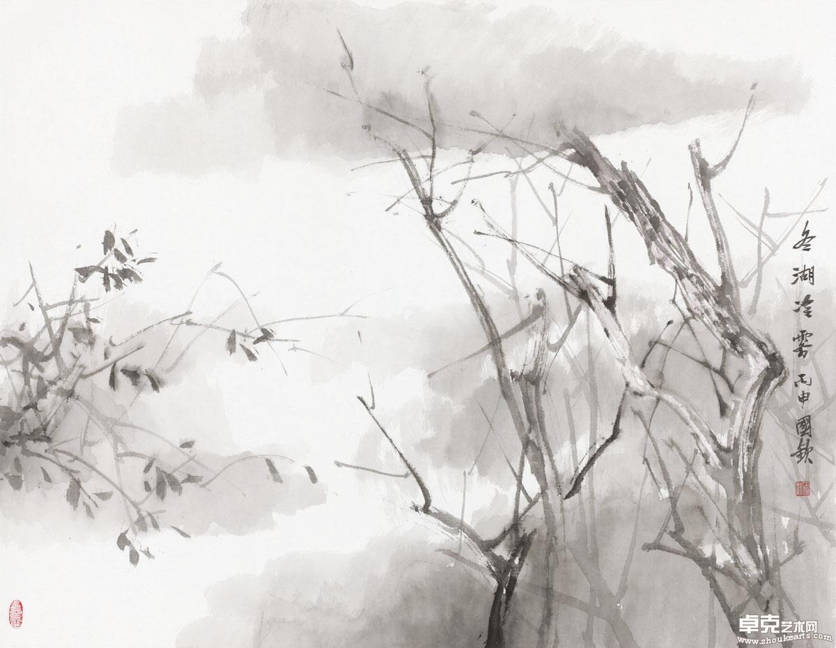 冬湖冷雾 70x91cm