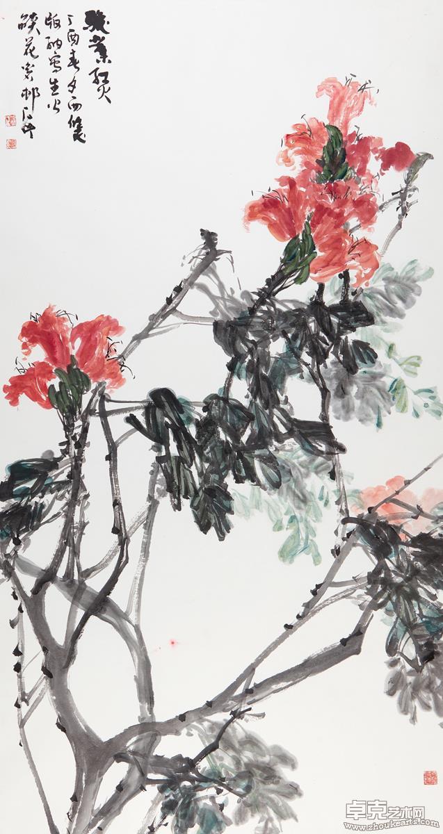《骏业红火》(火焰花)181X97 cm