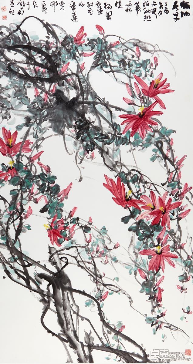 版纳春早(红花西番莲)181X97 cm