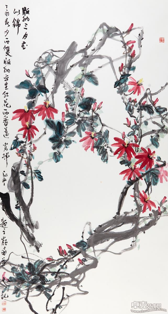 版纳三月春似锦(红花西番莲)181X97 cm