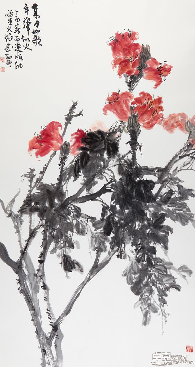 岁月如歌年华似水(火焰花)181X97 cm