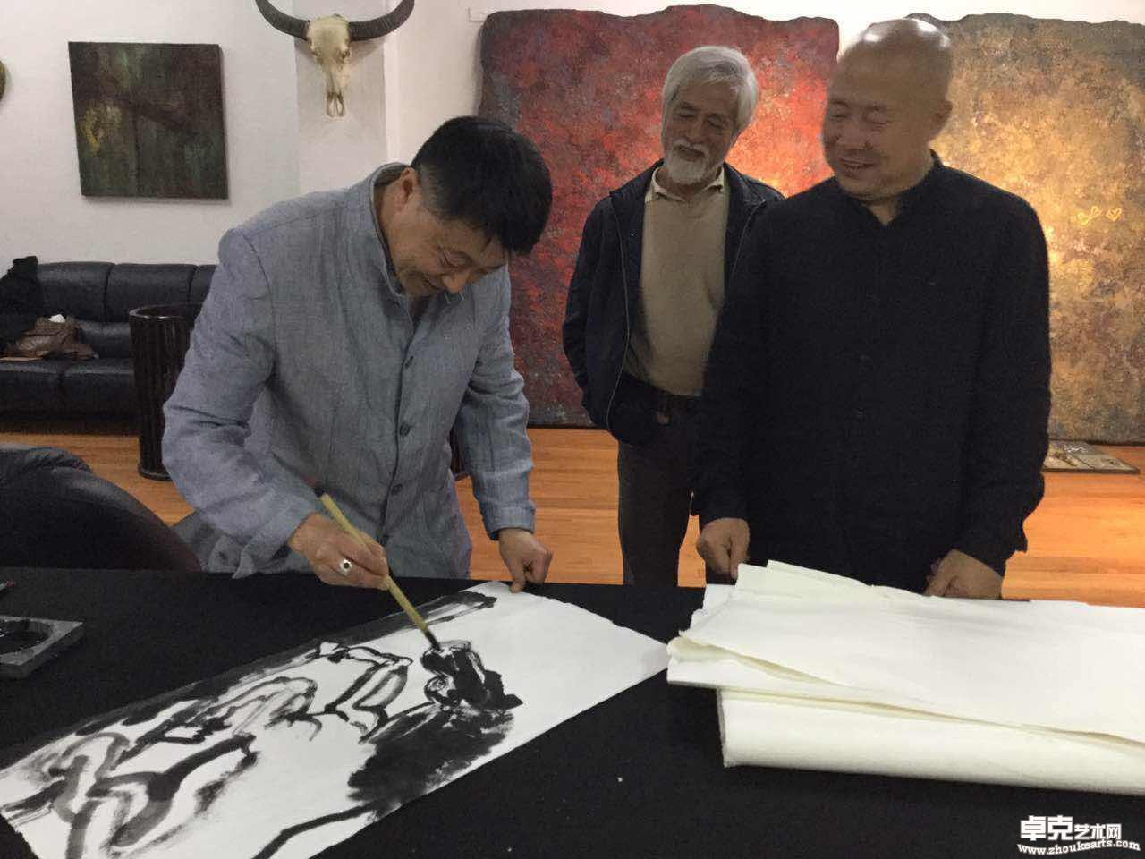 台湾展览~与同学蒋悦合作,与台湾画家现场交流