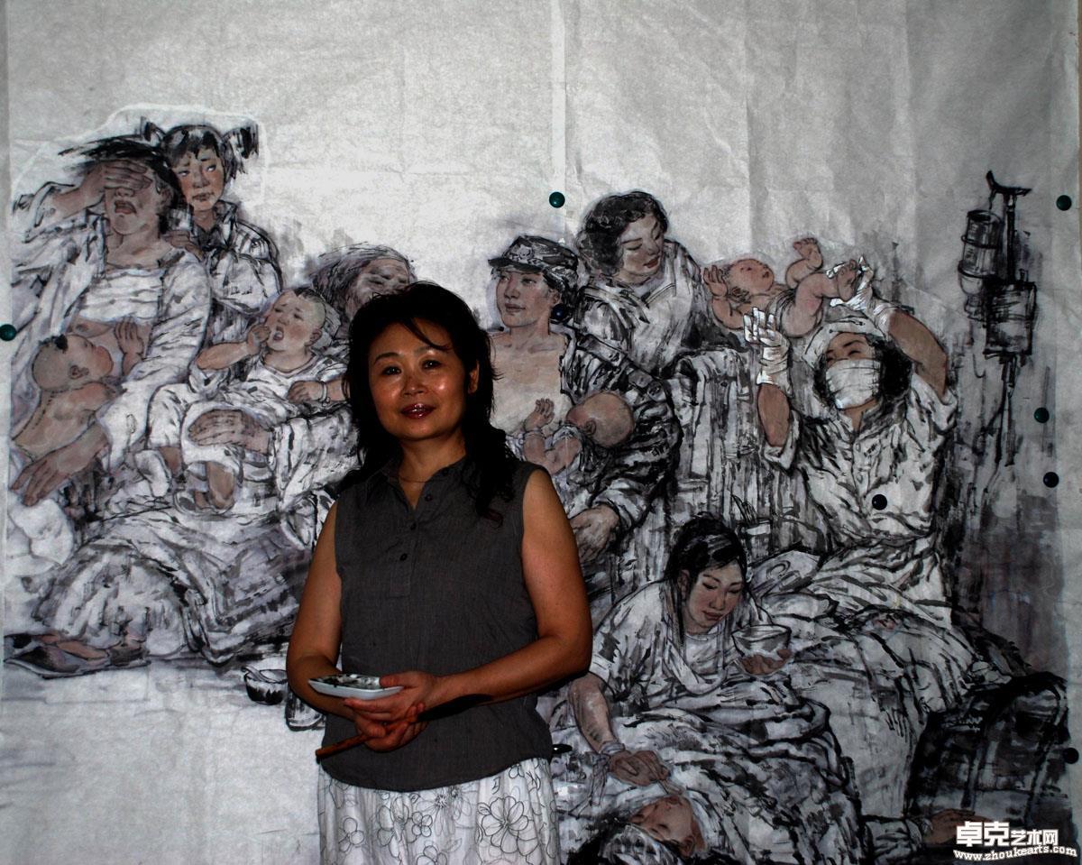 李江在抗震长卷《母亲们》创作中